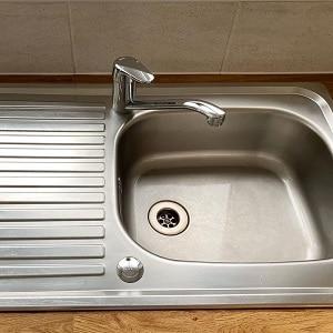 A clean kitchen sink
