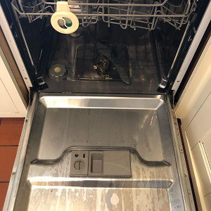 A dirty dishwasher